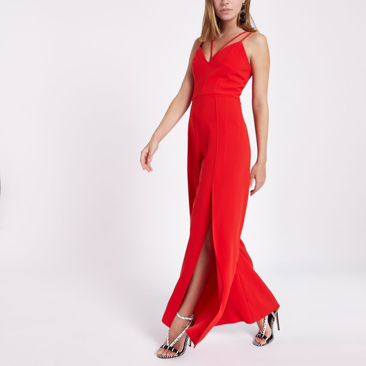 Petite red strappy cami split leg jumpsuit