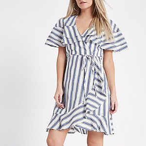 Petite blue stripe wrap frill hem dress