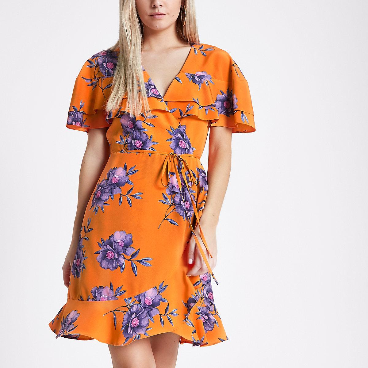 Petite orange floral print wrap tea dress
