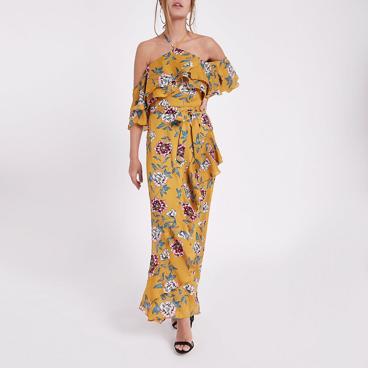 Petite yellow floral cold shoulder maxi dress