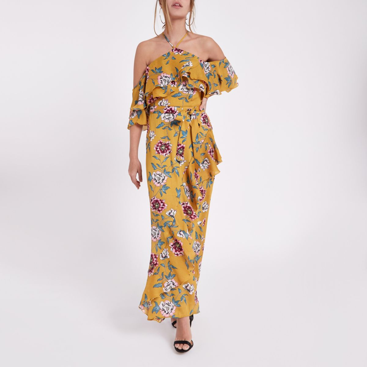 Petite yellow floral cold shoulder maxi dress