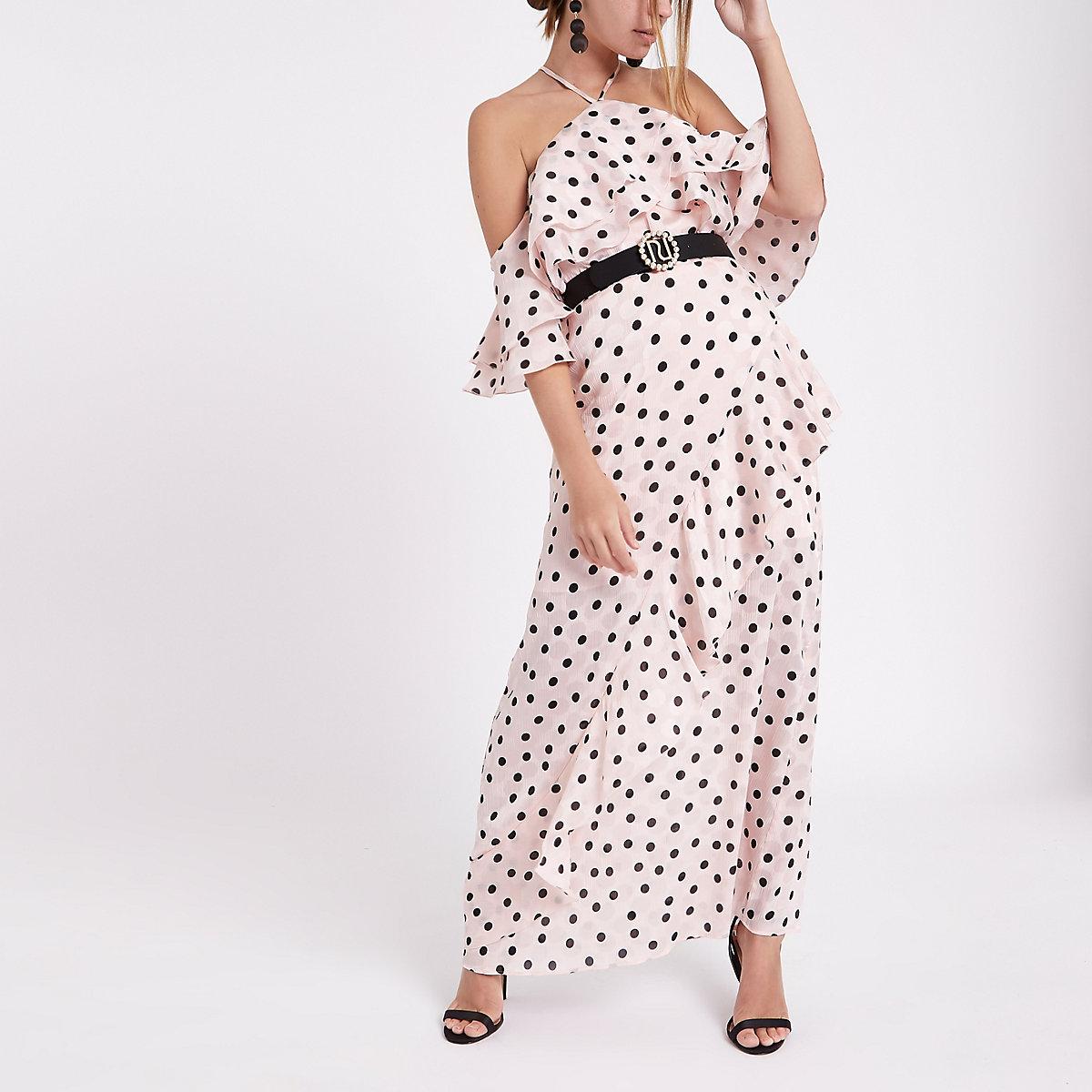 Petite light pink polka dot frill maxi dress