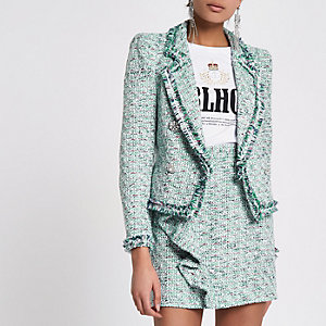 Green boucle double-breasted trophy jacket