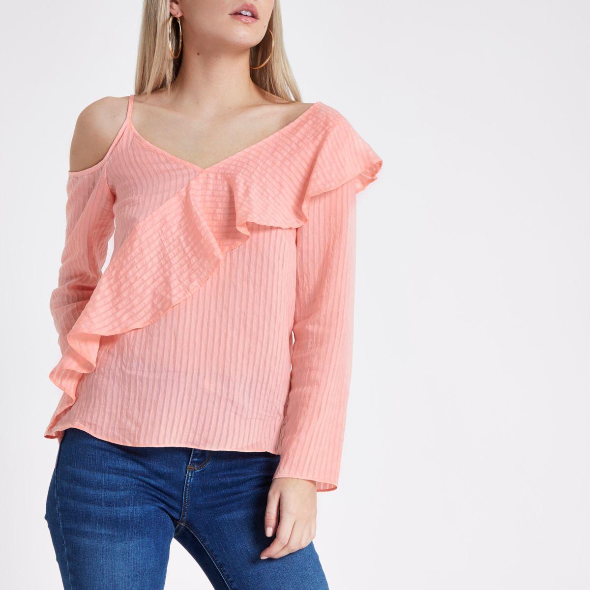 Petite pink stripe frill one shoulder top