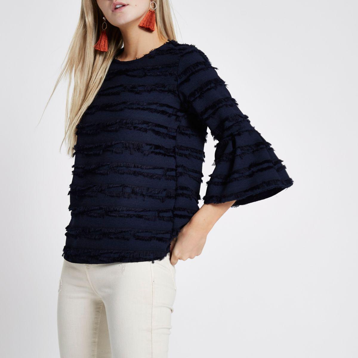 Petite navy fringe stripe bell sleeve top