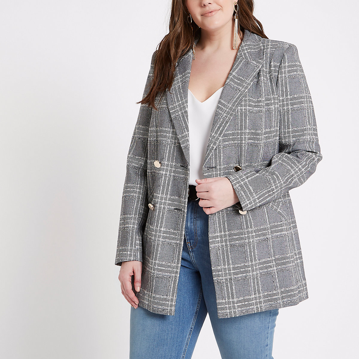 Plus grey check double breasted blazer
