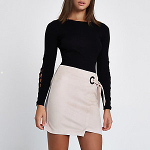 Pink faux suede wrap mini skirt