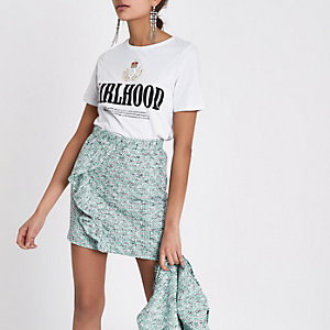Green frill front boucle mini skirt
