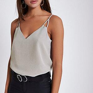 Grey split strap cami top