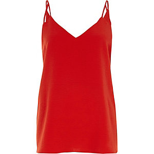 Red split strap cami top