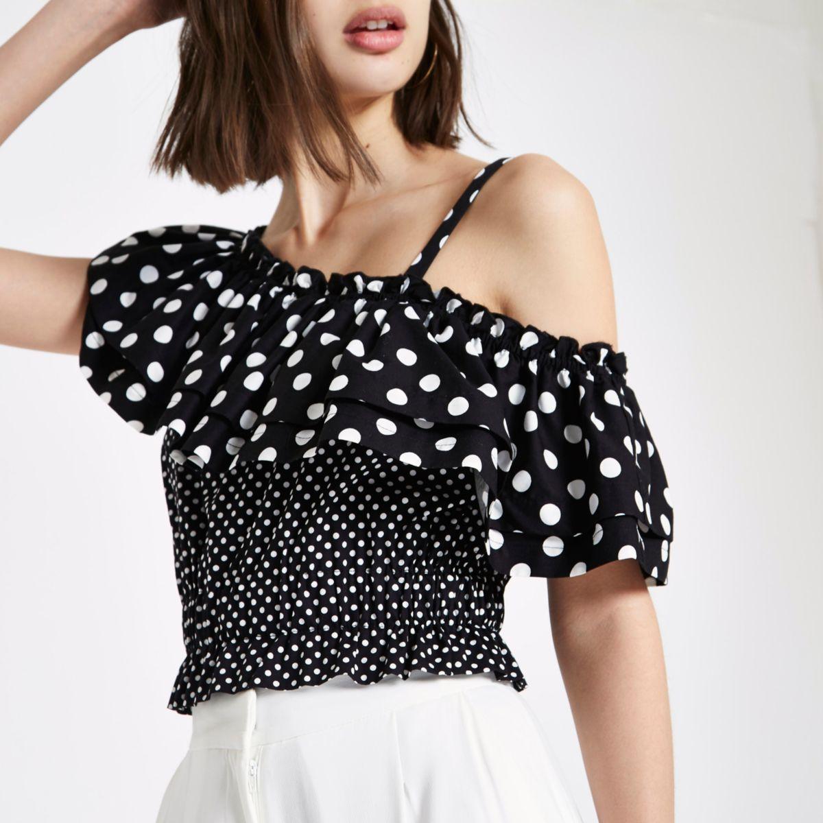 Black polka dot one shoulder frill crop top