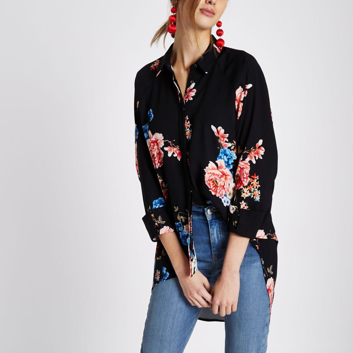 Black floral print high low hem shirt