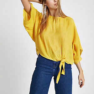 Yellow side knot short sleeve top