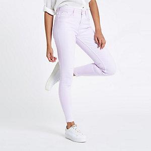 Amelie – Jean super skinny violet à ourlet effiloché