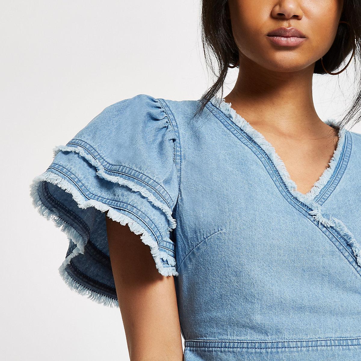 Blue denim frill sleeve crop top