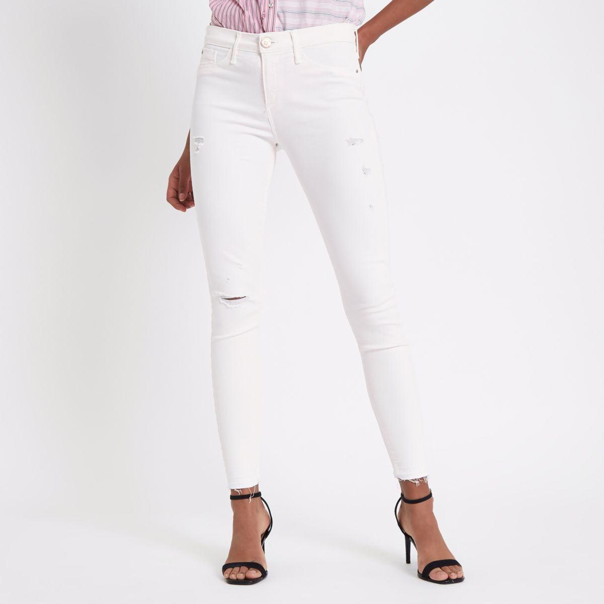 Molly - Lichtroze ripped jegging