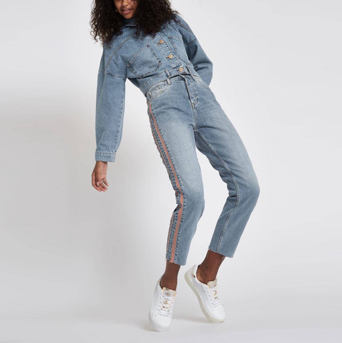 Casey - Blauwe slim-fit jeans met streep aan de zijkant