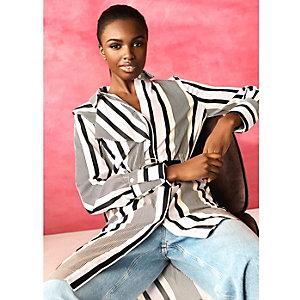 RI Studio – Robe chemise asymétrique rayée crème