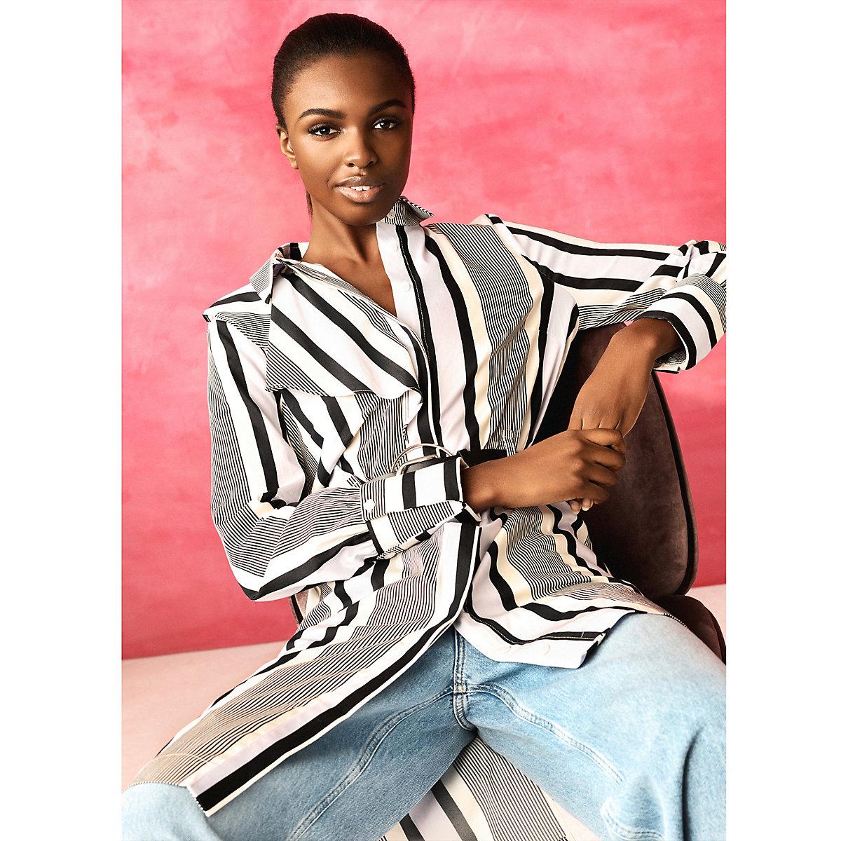 Cream RI Studio stripe asymmetric shirt dress