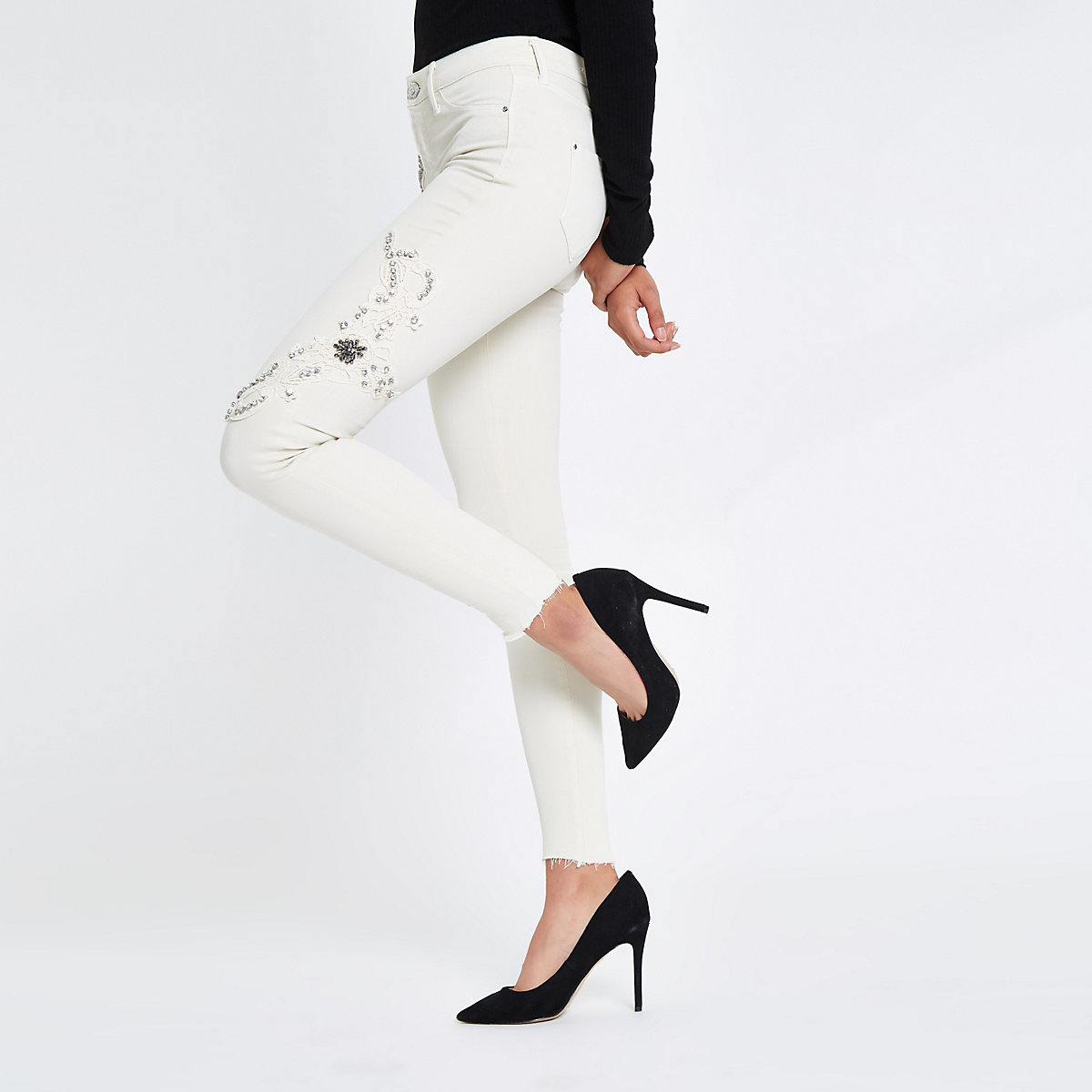 White Molly mid rise rhinestone jeans