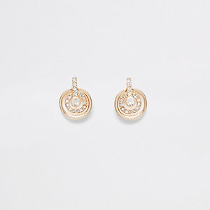 Gold tone double hoop pave stud earrings