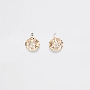 Gold tone double hoop pave stud earrings