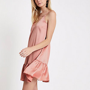 Light pink drop hem cami slip dress