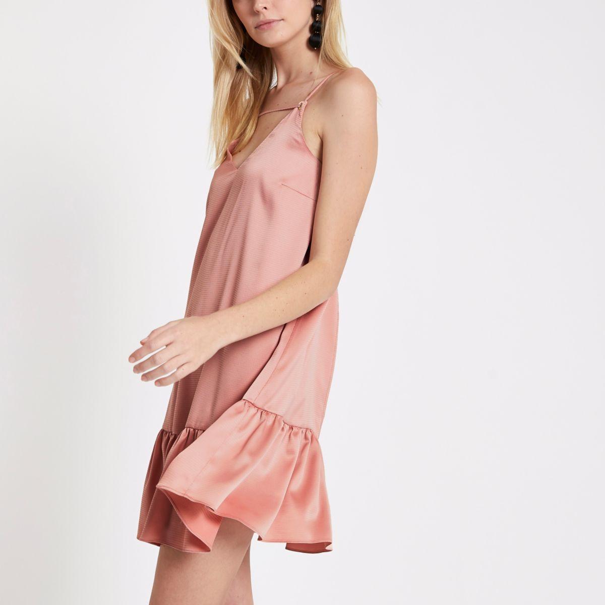 Light pink drop hem cami slip dress