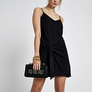Black tie wrap front cami dress