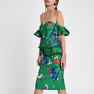 Robe mi-longue ajustée verte à fleurs avec découpe en cœur sur la poitrine