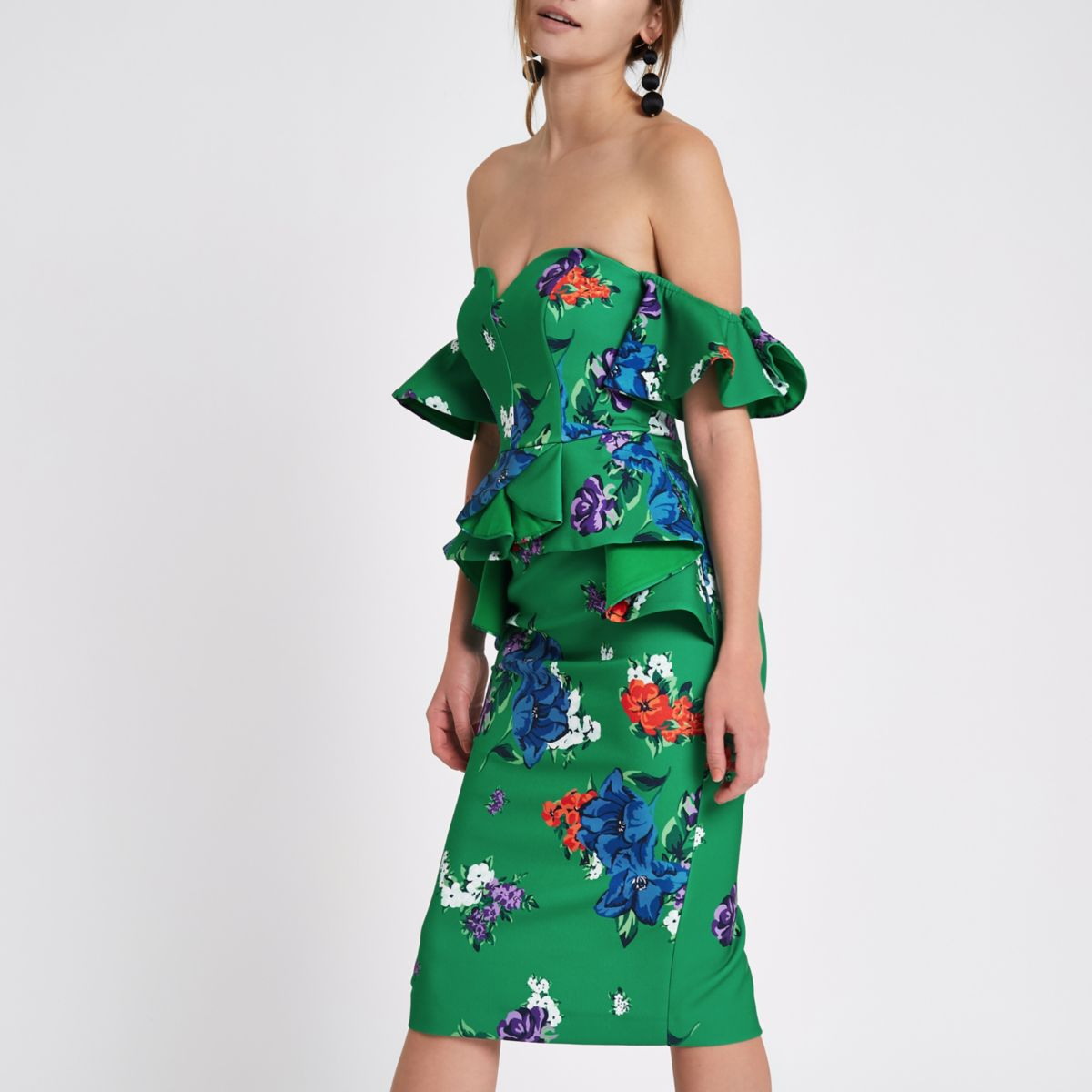 Green floral sweetheart bodycon midi dress