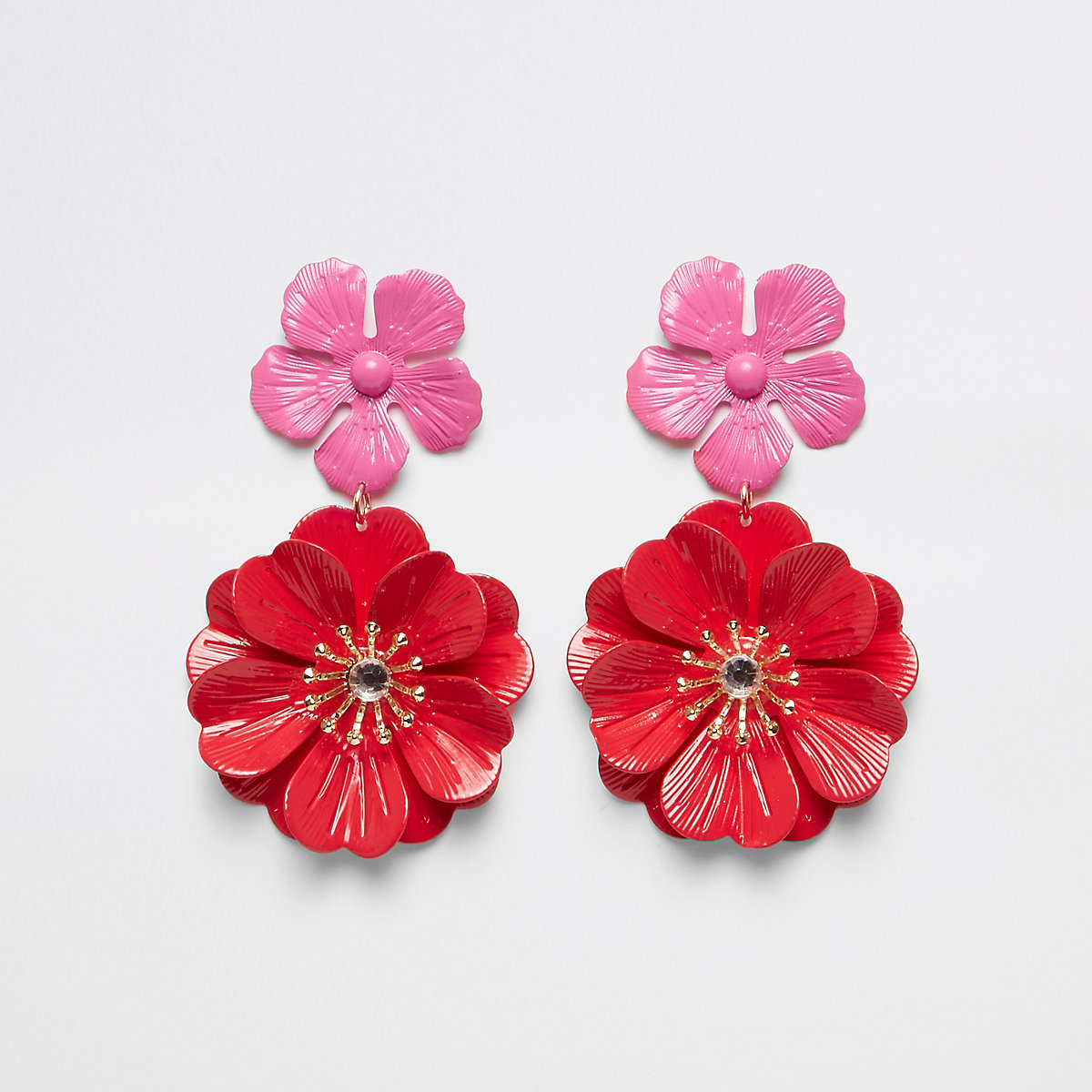 Red double flower stud drop earrings