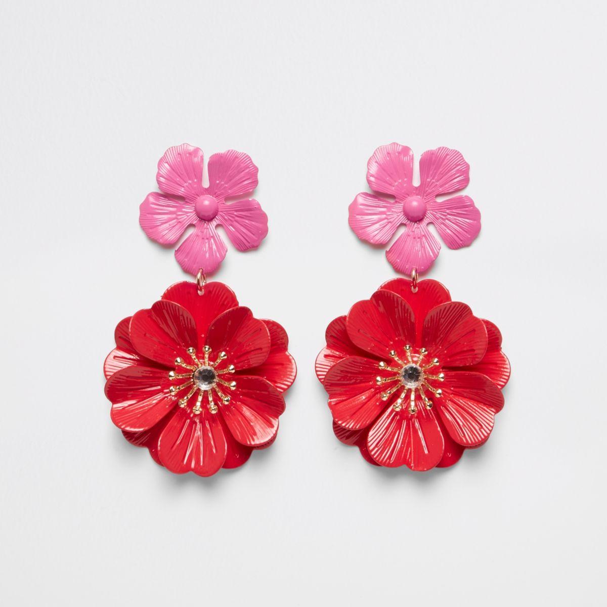 Red double flower stud drop earrings