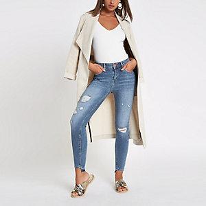 Amelie – Mittelblaue Super Skinny Jeans im Used-Look