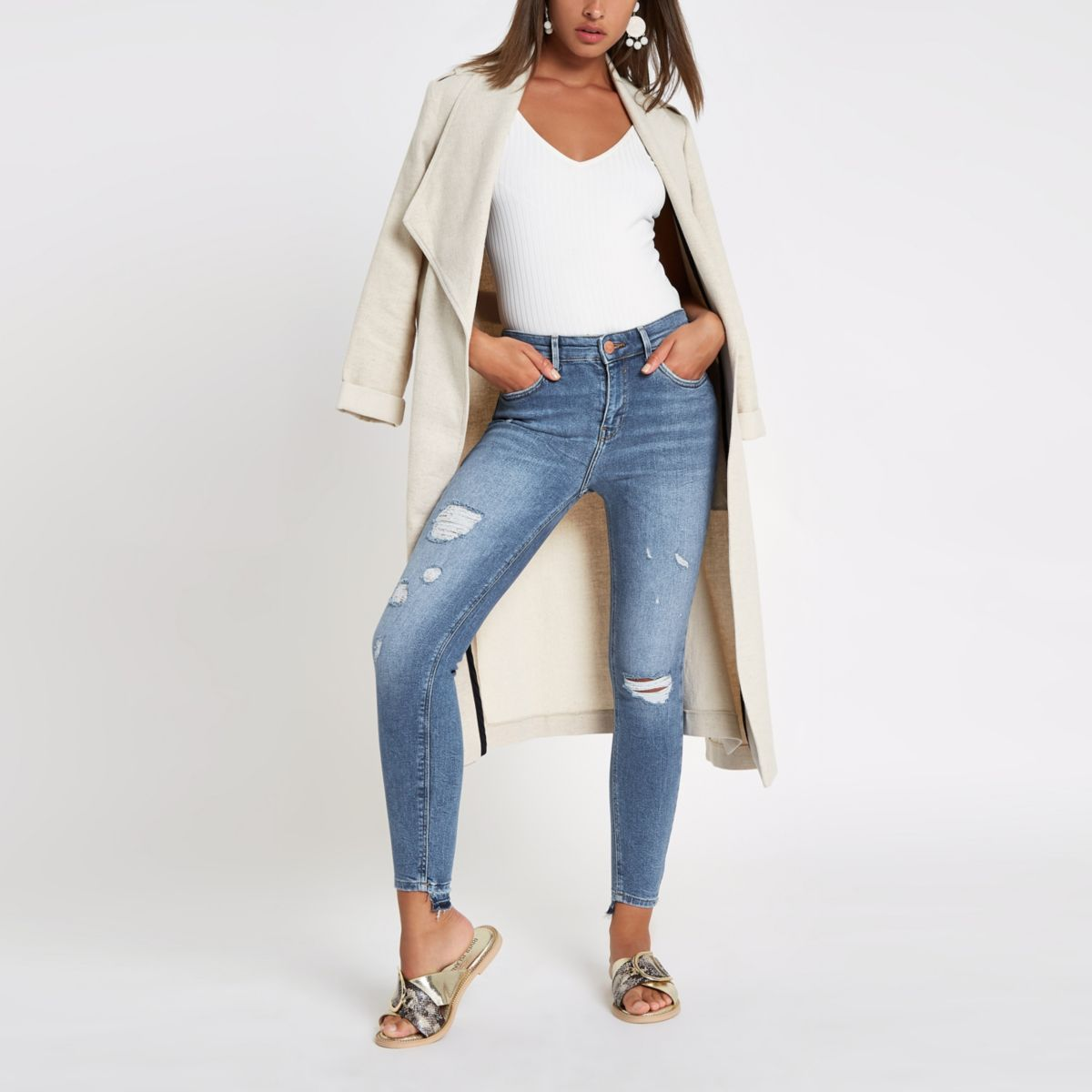 Mid blue Amelie super skinny ripped jeans