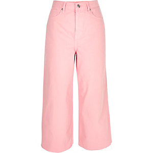 Pink Alexa cropped wide leg jeans