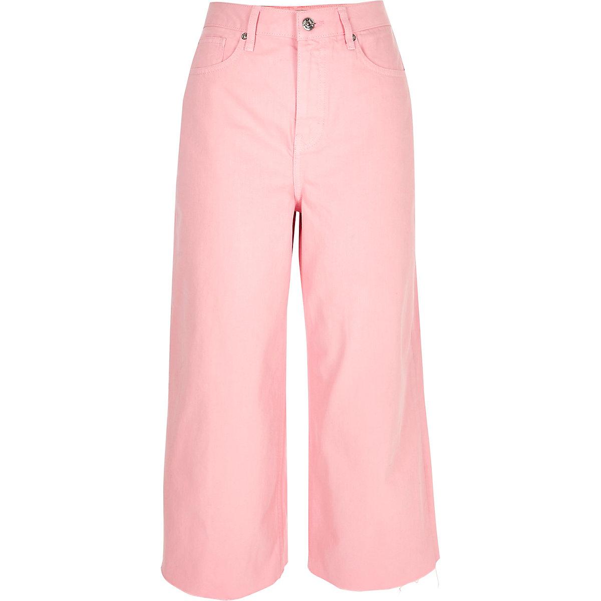 Pink Alexa cropped wide leg jeans