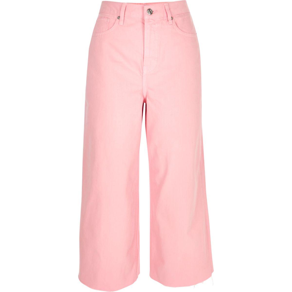 Alexa - Roze cropped jeans met wijde pijpen
