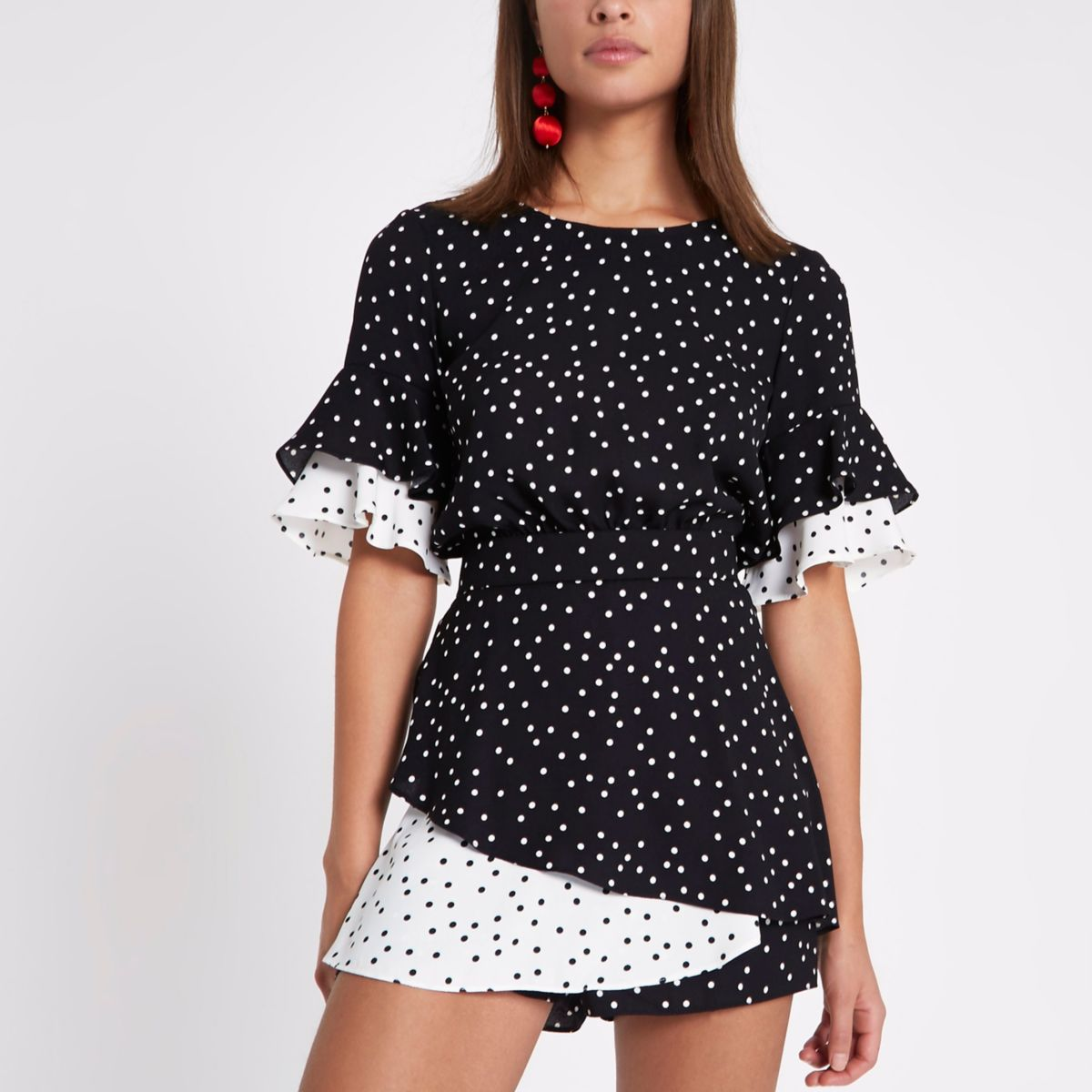 Black polka dot double frill playsuit