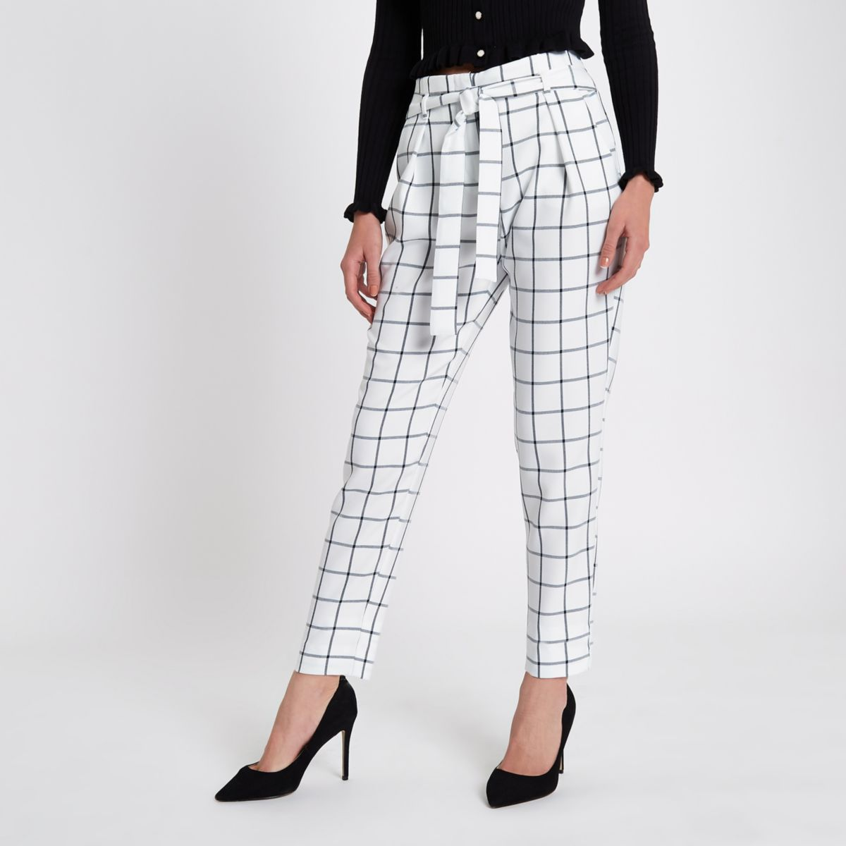 White check tie waist tapered pants