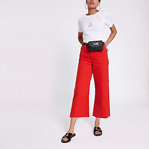 Alexa - Rode cropped jeans met wijde pijpen