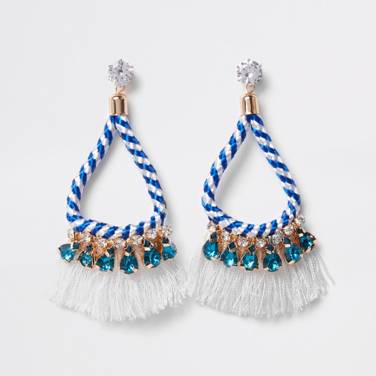 White rope tassel drop earrings