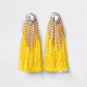 Yellow rhinestone tassel drop earrings