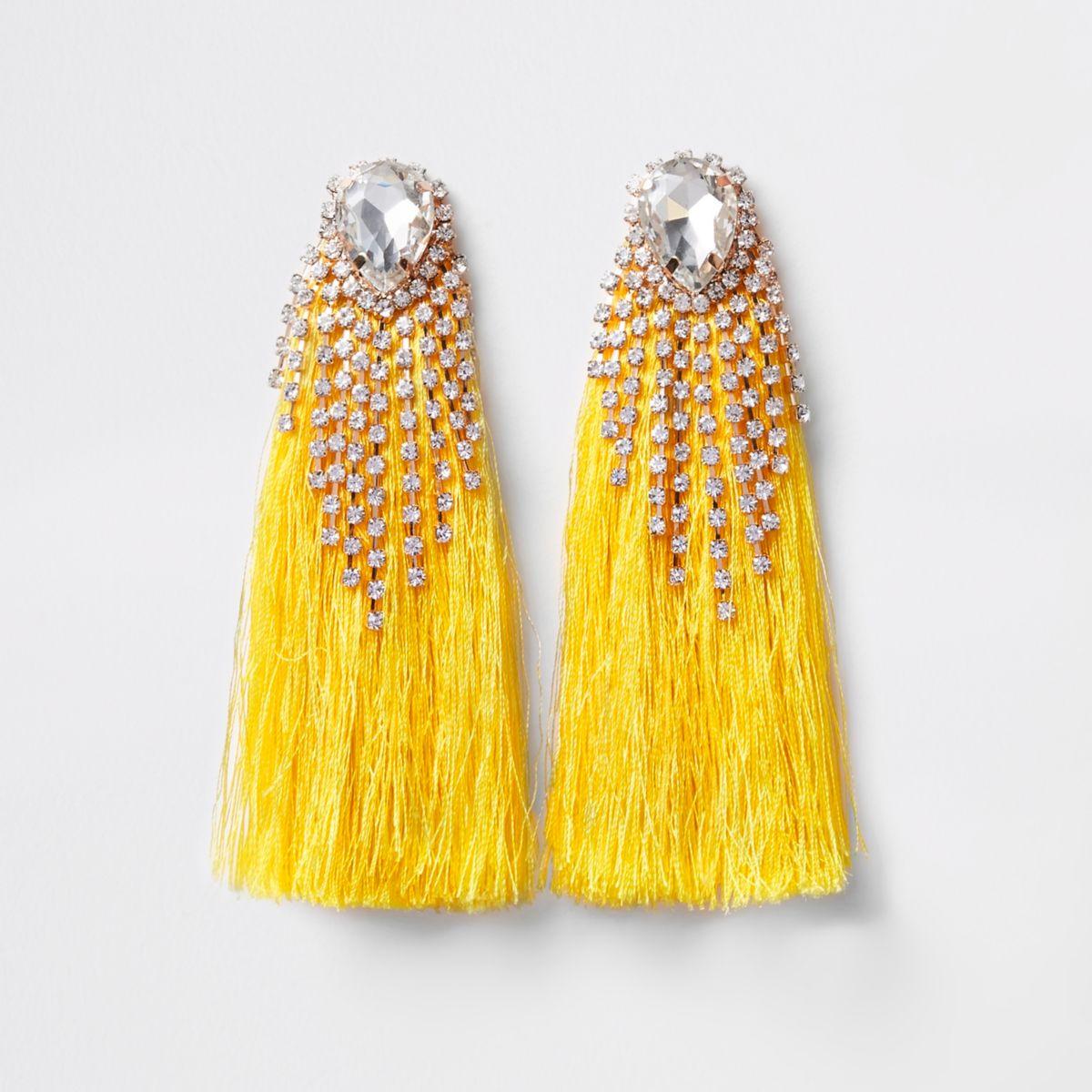 Yellow rhinestone tassel drop earrings