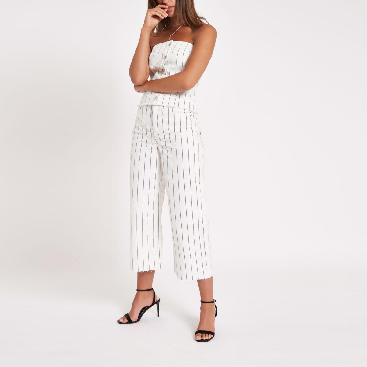 Alexa - Crème cropped jeans met wijde pijpen en krijtstreep