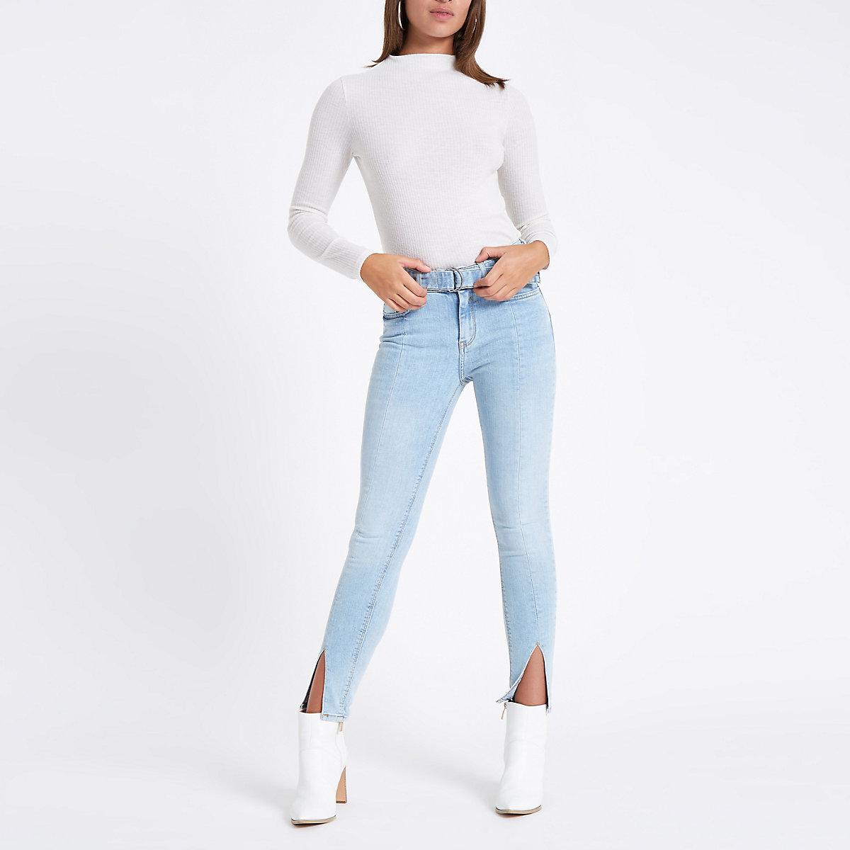 Blue Amelie mid rise skinny split hem jeans