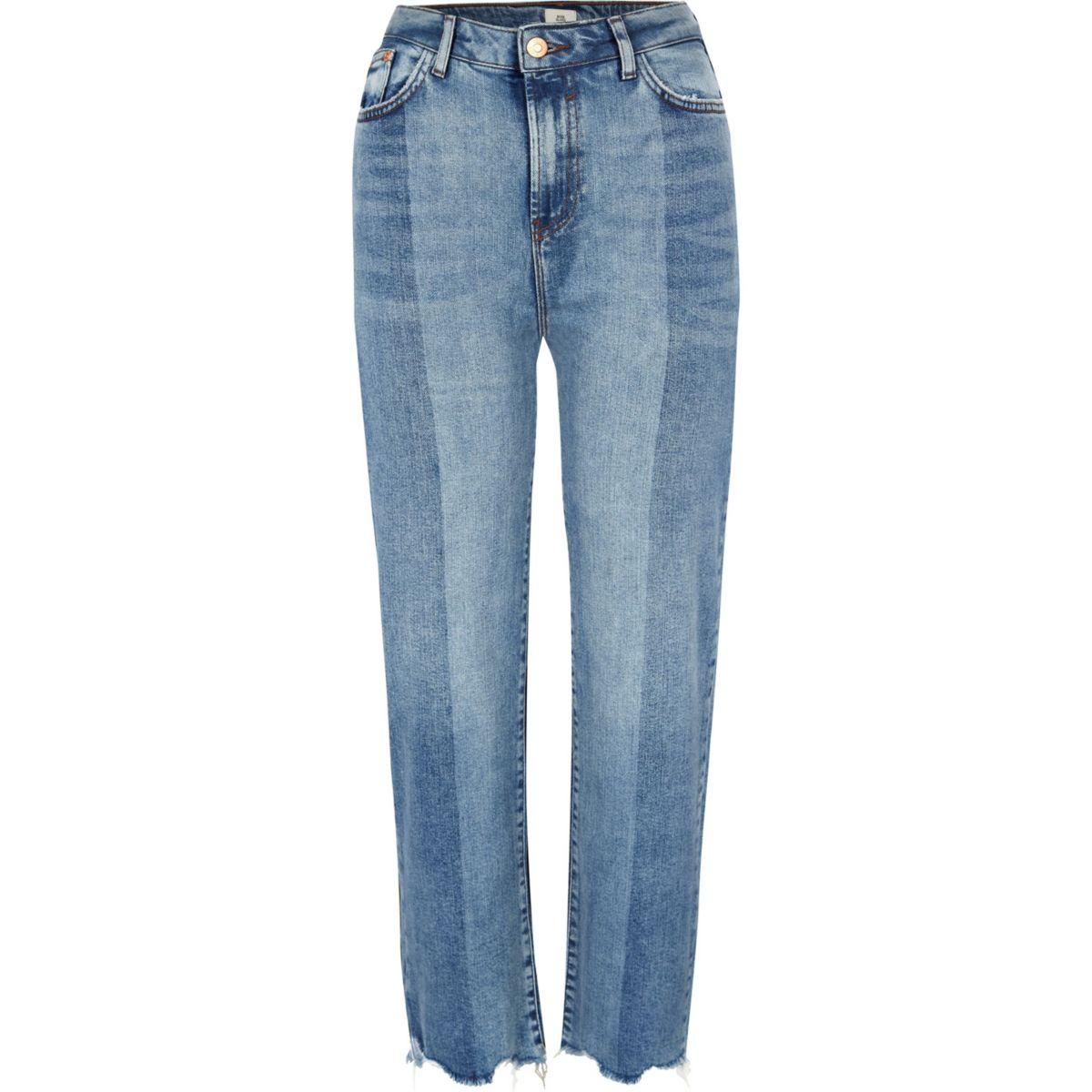 Mid Blue Bella Cut Hem Straight Leg Jeans by River Island