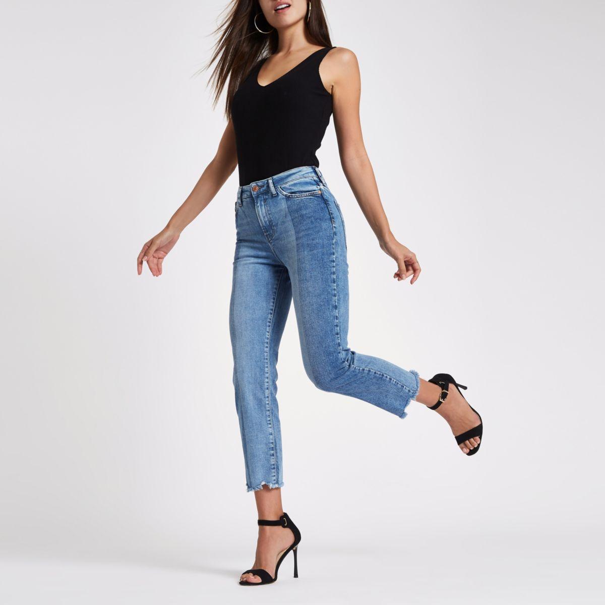 Mid blue Bella cut hem straight leg jeans