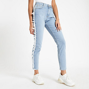 Light blue Casey frayed side slim fit jeans
