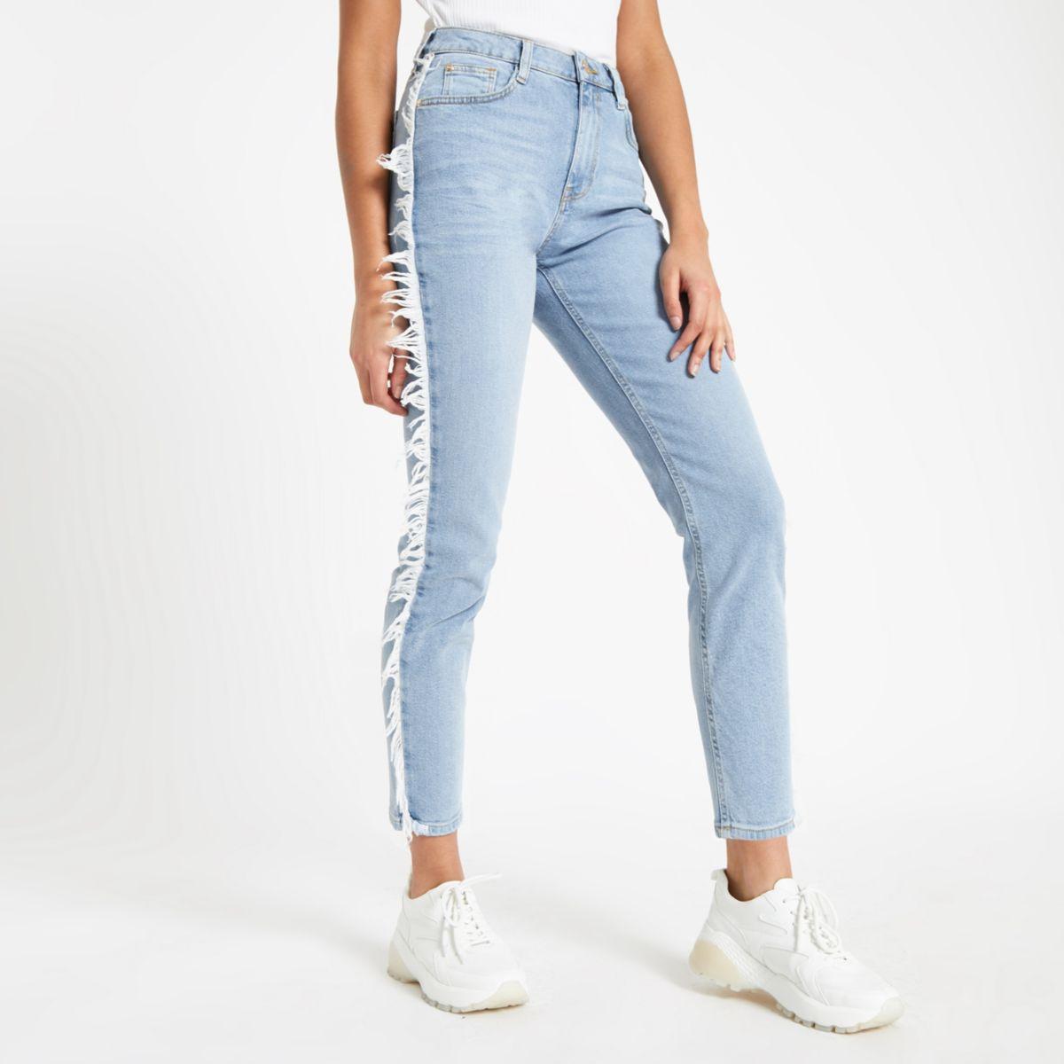 Light blue Casey frayed side slim fit jeans